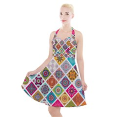 Ethnic Mandala Pattern Halter Party Swing Dress  by designsbymallika