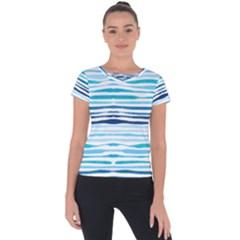 Blue Waves Pattern Short Sleeve Sports Top  by designsbymallika