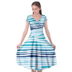 Blue Waves Pattern Cap Sleeve Wrap Front Dress by designsbymallika
