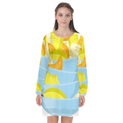 Salad Fruit Mixed Bowl Stacked Long Sleeve Chiffon Shift Dress  by HermanTelo