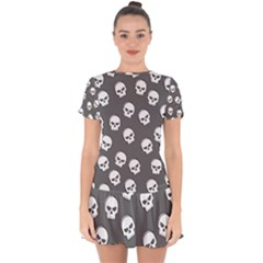 White Skull Pattern Drop Hem Mini Chiffon Dress by designsbymallika