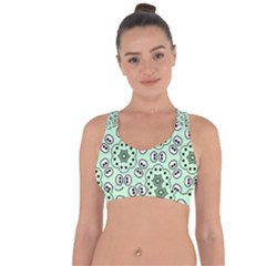Texture Dots Pattern Cross String Back Sports Bra by Alisyart