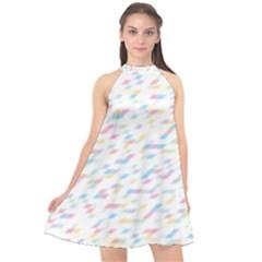 Texture Background Pastel Box Halter Neckline Chiffon Dress  by HermanTelo