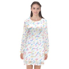 Texture Background Pastel Box Long Sleeve Chiffon Shift Dress