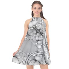 Illustrations Entwine Fractals Halter Neckline Chiffon Dress
