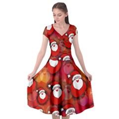 Santa Clause Cap Sleeve Wrap Front Dress
