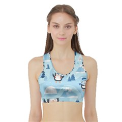 Christmas Seamless Pattern With Penguin Sports Bra With Border