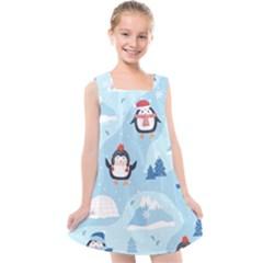 Christmas Seamless Pattern With Penguin Kids  Cross Back Dress by Vaneshart