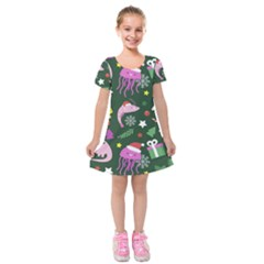 Colorful Funny Christmas Pattern Kids  Short Sleeve Velvet Dress