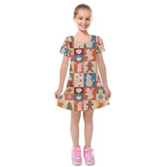 Cute Christmas Seamless Pattern Vector Kids  Short Sleeve Velvet Dress by Vaneshart