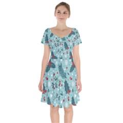 Seamless Pattern With Berries Leaves Short Sleeve Bardot Dress