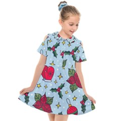 Colorful Funny Christmas Pattern Kids  Short Sleeve Shirt Dress by Vaneshart