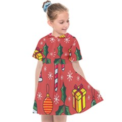 Colorful Funny Christmas Pattern Kids  Sailor Dress by Vaneshart