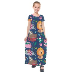 Funny Animal Christmas Pattern Kids  Short Sleeve Maxi Dress by Vaneshart
