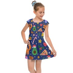 Colorful Funny Christmas Pattern Kids  Cap Sleeve Dress by Vaneshart