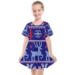 Knitted Christmas Pattern Kids  Smock Dress by Vaneshart