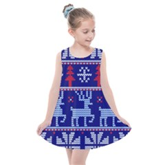 Knitted Christmas Pattern Kids  Summer Dress by Vaneshart