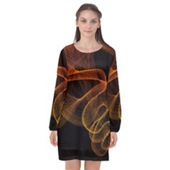 Circle Fractals Pattern Long Sleeve Chiffon Shift Dress