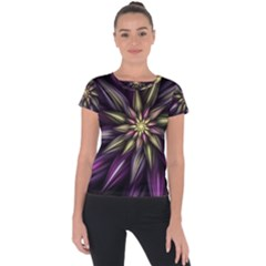 Fractal Flower Floral Abstract Short Sleeve Sports Top