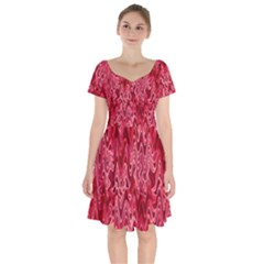 Background Abstract Surface Red Short Sleeve Bardot Dress by HermanTelo