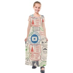 Christmas Postal Pattern Kids  Short Sleeve Maxi Dress by Vaneshart