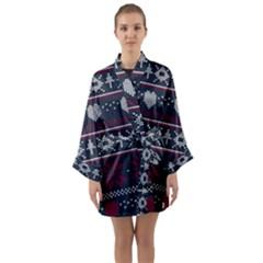 Beautiful Knitted Christmas Pattern Long Sleeve Satin Kimono