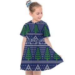 Beautiful Knitted Christmas Pattern Blur Green Kids  Sailor Dress by Vaneshart