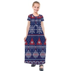 Beautiful Knitted Christmas Pattern Kids  Short Sleeve Maxi Dress by Vaneshart