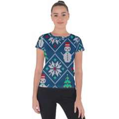 Knitted Christmas Pattern Short Sleeve Sports Top  by Vaneshart