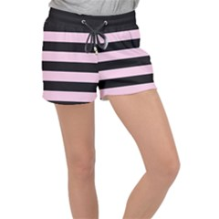 Black And Light Pastel Pink Large Stripes Goth Mime French Style Women s Velour Lounge Shorts