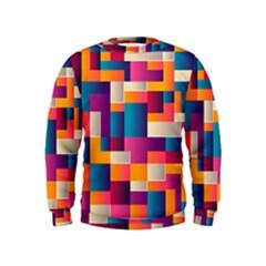 Abstract Geometry Blocks Kids  Sweatshirt
