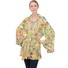 Flowers Color Colorful Watercolour Long Sleeve Velvet Kimono  by HermanTelo