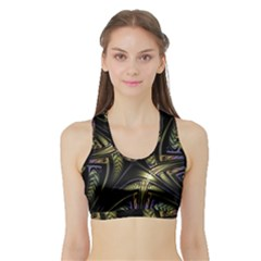 Fractal Texture Pattern Sports Bra With Border