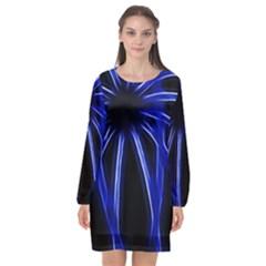 Light Effect Blue Bright Design Long Sleeve Chiffon Shift Dress