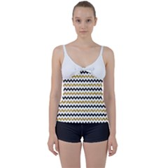 Black And Gold Glitters Zigzag Retro Pattern Golden Metallic Texture Tie Front Two Piece Tankini by genx