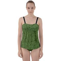 Groyper Pepe The Frog Original Meme Funny Kekistan Green Pattern Twist Front Tankini Set by snek