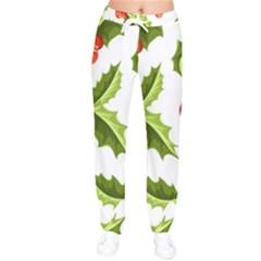 Christmas Holly Berry Seamless Pattern Women Velvet Drawstring Pants by Vaneshart