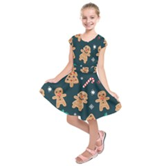 Colourful Funny Christmas Pattern Kids  Short Sleeve Dress by Vaneshart