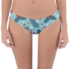 Seamless Pattern With Berries Leaves Reversible Hipster Bikini Bottoms by Vaneshart