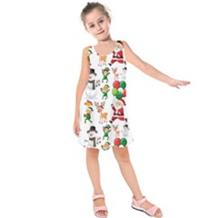 Seamless Pattern Christmas Kids  Sleeveless Dress by Vaneshart