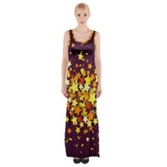 Colorful Confetti Stars Paper Particles Scattering Randomly Dark Background With Explosion Golden St Thigh Split Maxi Dress