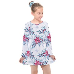 Watercolor Christmas Floral Seamless Pattern Kids  Long Sleeve Dress by Vaneshart