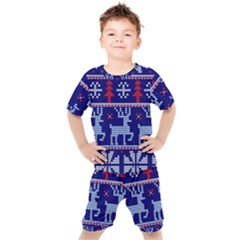 Knitted Christmas Pattern Kids  Tee And Shorts Set by Vaneshart