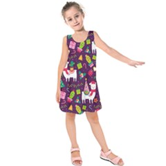 Colorful Funny Christmas Pattern Kids  Sleeveless Dress by Vaneshart