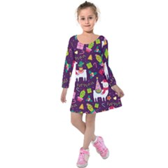 Colorful Funny Christmas Pattern Kids  Long Sleeve Velvet Dress by Vaneshart