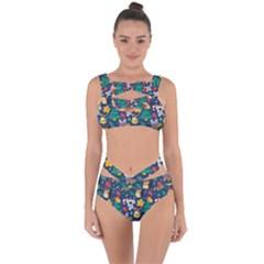 Colorful Funny Christmas Pattern Bandaged Up Bikini Set