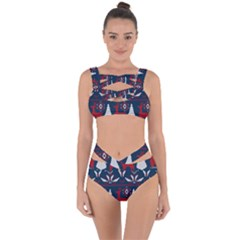 Knitted Christmas Pattern Bandaged Up Bikini Set  by Vaneshart