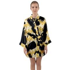 Ananas Chevrons Noir/jaune Long Sleeve Satin Kimono