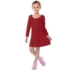 Damiers Abstrait Rouge/noir Kids  Long Sleeve Velvet Dress