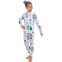 Christmas Seamless Pattern With Cute Kawaii Mouse Kids  Long Sleeve Set  by Vaneshart